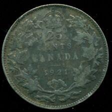 1921 Canada 25 Cent Piece, King George V, O108