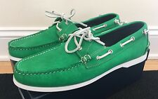 NEW RALPH LAUREN USA Telford Green Leather Boat Loafers Shoes 13 $395