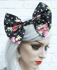 Large Strawberry Hair Bow Vintage 50's Style Hair Clip Rockabilly Loli Goth