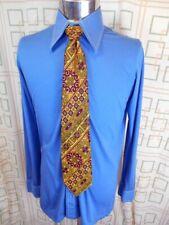 Vintage 70s Blue Tresurhouse Stretchy Poly/Cotton Body Shirt Disco Party 95cm M