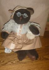 Handcrafted Teddy Bear Old lady ~ Janet Cook 1995 - amazing clothes 20""