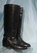 """Attractive UNNISA Black Leather 16"""" Side European Riding Style Boots 8.5B"""