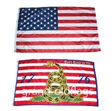 Lot 3' X 5' U.S. American & Dbl Sided Gadsden 1776 Dont Tread On Me Flag 3X5
