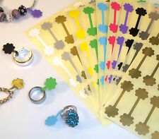 100 Flower Shaped Jewellery Price Stickers 16 x 54mm Tags / Labels / Dumbells