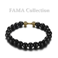 FAMA Polished Black Onyx Stretch Bracelet with Bronze IP Stainless Steel Barbell