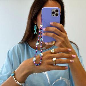 Evil Eye Phone Chain Beaded Strap Wrist Mobile Phone Lanyard Star Charm Jewelry