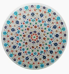 48 Inches Gemstones Inlay Art Dining Table Top Marble Reception Table Royal Look