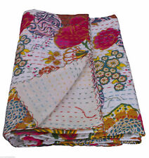 White Fruit Print KING Size Kantha Cotton Patchwork Handmade Vintage Bedspread
