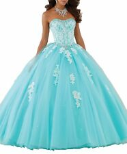 Women Strapless Beaded Ball Gowns Sweet Girls 15 16 Long Quinceanera Dresses