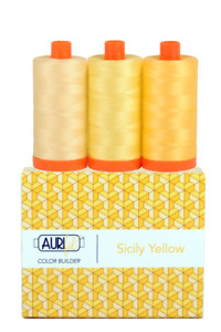 Aurifil 50 WT Colour Blenders Sicily Yellow set of 3 x 1300 spools