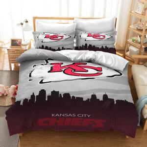 Kansas City Chiefs 3PCS Football Bedding Set Duvet Cover Pillowcases New Design