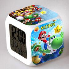 Reveil cube led lumière nuit alarm clock mario personnalisé prénom réf 17