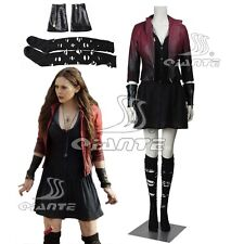 Avengers: Age of Ultron Scarlet Witch Cosplay Costume Red Coat Black Dress