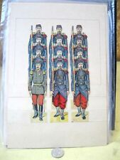 Vintage PAPER SOLDIER TOY Display,11 French Foot Soldiers,1 Officer,C.1900,#5