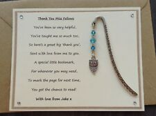 Personalised Thank You Teacher Poem Magnet Owl Bookmark. Childminder Assistant