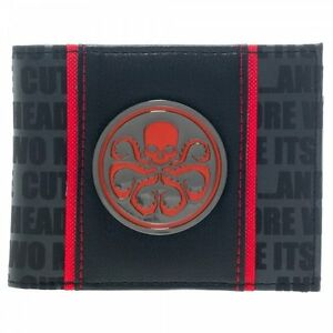 Captain America: Hydra Metal Badge Red Logo Bi-Fold Vinyl Wallet, NEW UNUSED