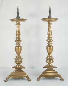 Antique Dutch Flemish Pair of Large Bronze 17th Century Pricket Candlesticks