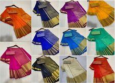Indian Bollywood Wedding Designer Tussar Silk Saree Sari Party Wear Fabric KK