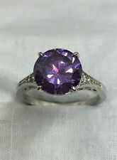Sterling Silver, Amethyst and White Topaz Ring