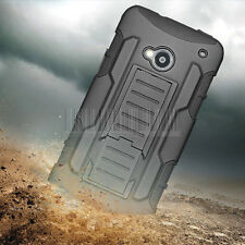 Shockproof Rubber Hybrid Armor Phone Kickstand Case Cover Holster For HTC One M7