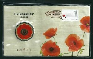 2011 Remembrance Day Foil PNC #1078 of 1111 $5 Red Poppy Coin Dated 11/11/11 UNC
