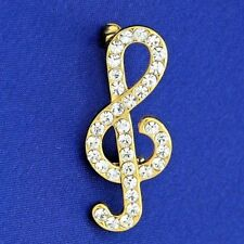 Treble Clef Made With Brooch Swarovski Crystal Music Song Singing Charm Pin