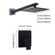 Black Rainfall Shower Head Set Bathroom Wall Mount Tap Hand Spray Mixer Faucet