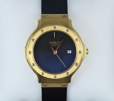 $8,000 Hublot 28mm Classic MDM Ladies 18k Yellow Gold Black Rubber Band Watch