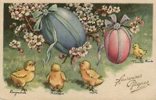 Easter chicks looking at large eggs in tree French artist postcard