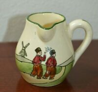 Vintage Haag Pottery Small Creamer Pitcher Dutch Scene windmill Made in Austria