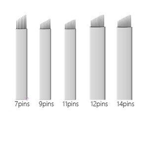100pcs White 7/9/11/12/14 Needles Permanent Make Up Blades Manual Eyebrow Tattoo