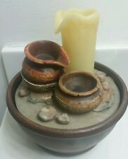 TABLETOP CORDLESS FLOWING CANDLE POTTERY FOUNTAIN w ROCKS》LED CANDLE LIGHTS UP