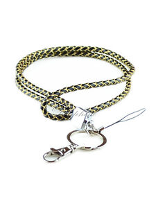 Multi Color Braided Leather Necklace long Lanyard keychain for ID badge holder