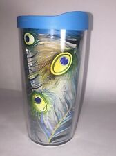 16 oz Peacock Blue Yellow Green Wrap w LID Tervis Tumbler hot cold insulated