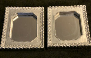 2 Small Vintage 1970s Shabby Chic Silver Ornate Mirrors 6.5 in x 5.5 in