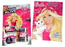 Barbie 4D Color Alive Coloring Book Crayola Activity Books Gift Set Stickers