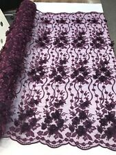 PLUM 3D CHIFFON FLOWER DESIGN EMBROIDERY WITH PEARLS ON A MESH-1 YARD.