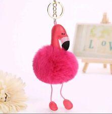 flamingo pom pom fluffy keyring keychain pink cute animal bird