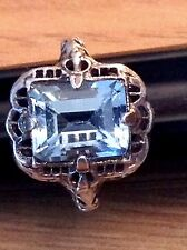 GORGEOUS ART DECO ANTIQUE GENUINE BLUE TOPAZ FILIGREE RING,( 4.75 ),925 SILVER