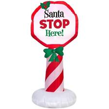 3.5' Christmas Lighted Santa Stop Here Sign Airblown Inflatable Outdoor Yard Use