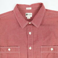 J CREW Chambray Work Shirt Mens LARGE Red Chore Heritage Engineer Tailored Fit