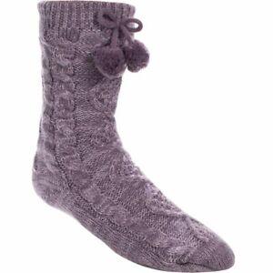 UGG Aura Fleece Lined Pom Pom Slipper Sock LAVENDER o/s NWT**