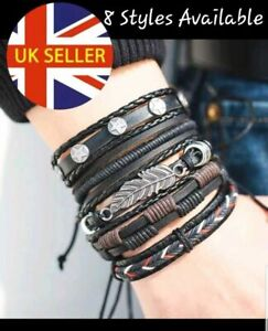Leather Mens Women's Bracelet Cuff Strap Multi Layer Hand Made Tribal Fashion