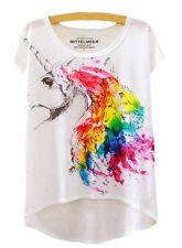 Colour Splash Unicorno Arcobaleno Stampa T-shirt UK 8 KAWAII Harajuku alternativa