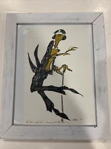Rare - Jules Feiffer original Autographed signed drawing cartoon Colored Framed