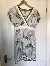 Fat Face Printed Cotton tunic dress White/Green  Floral-10, BNWT,beach,summer