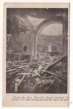 Facing Altar, Memorial Church STANFORD UNIVERSITY 1906 Fire CA Vintage Postcard