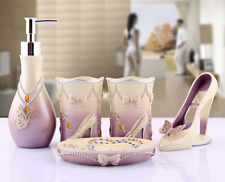 5pcs Bathroom Accessories Sets Toothbrush Dish Soap Holder Purple&White,Resin