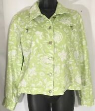f321f775557d Women's Charter Club Jacket Casual Denim Style Size PM Green Floral Button  Up A2