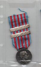 WW1 MEDAGLIA ARGENTO GUERRA LIBIA MARCATA ZECCA CON 2 BARRETTE 1916/17 1918/19